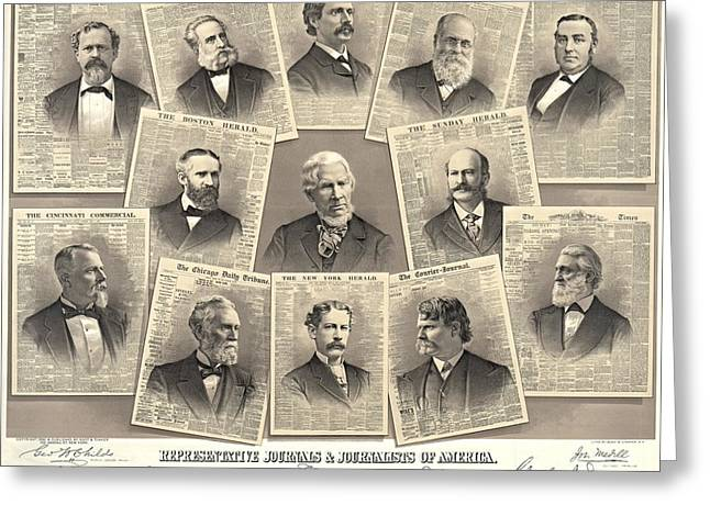 New York Tribune Greeting Cards - American Journalists 1882 Greeting Card by Padre Art