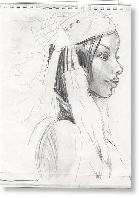 African-american Drawings Greeting Cards - American Greeting Card by Laura Volpintesta
