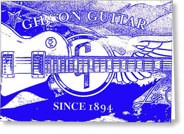 """six String"" Greeting Cards - American Legend Blue Greeting Card by Jon Neidert"