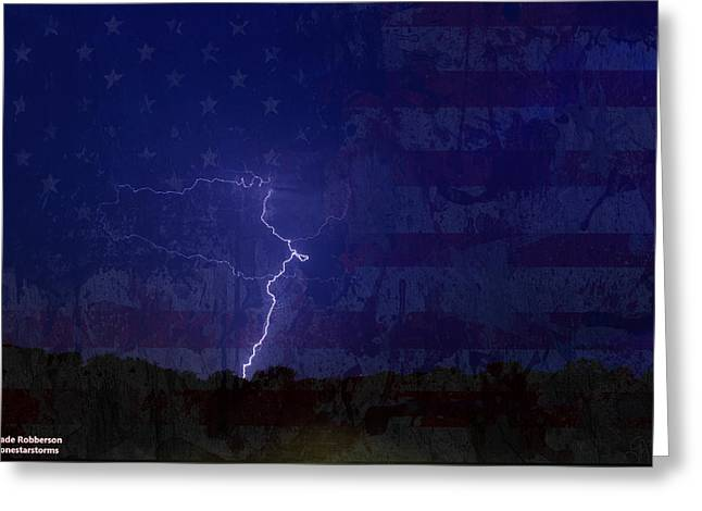 Thunderstorm Pyrography Greeting Cards - American Lightning Greeting Card by Wade Robberson