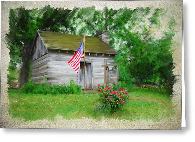 Log Cabin Mixed Media Greeting Cards - American Log Cabin Greeting Card by Mary Timman