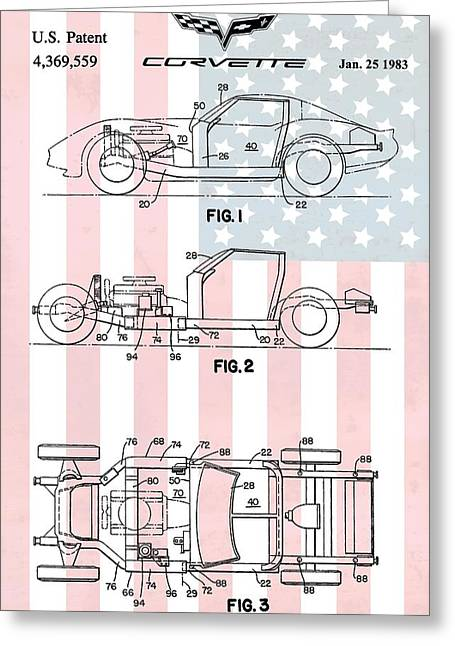 1983 Greeting Cards - American Made Corvette Patent Greeting Card by Dan Sproul
