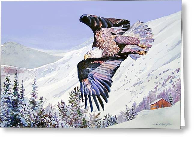 Wildlife Watercolor Greeting Cards - American Majesty  Greeting Card by David Lloyd Glover