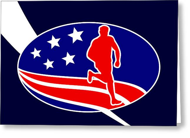 American Marathon Achieve Something Poster  Greeting Card by Aloysius Patrimonio