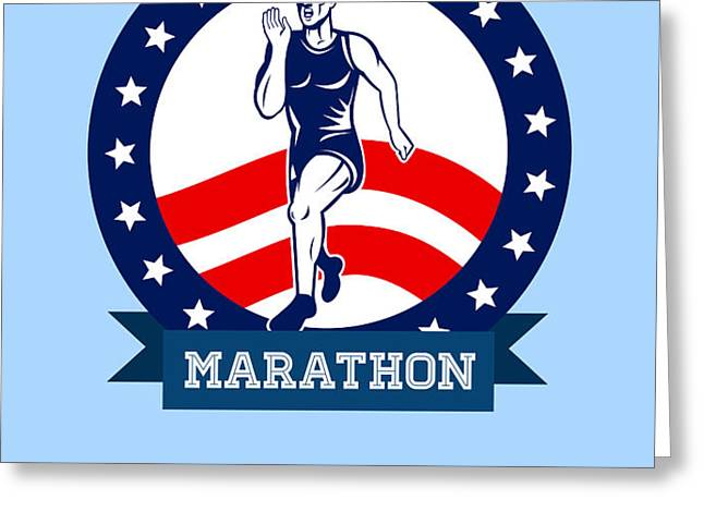 American Marathon Runner Power Poster Greeting Card by Aloysius Patrimonio