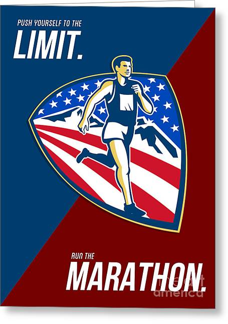 American Marathon Runner Push Limits Retro Poster Greeting Card by Aloysius Patrimonio