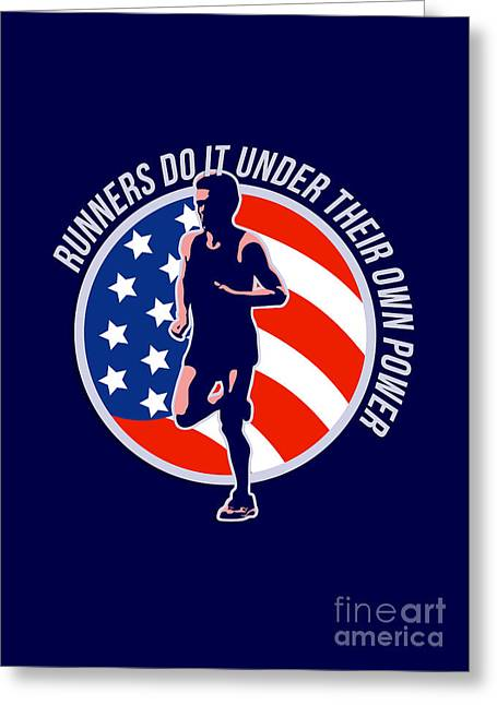 American Marathon Runner Running Power Retro Greeting Card by Aloysius Patrimonio