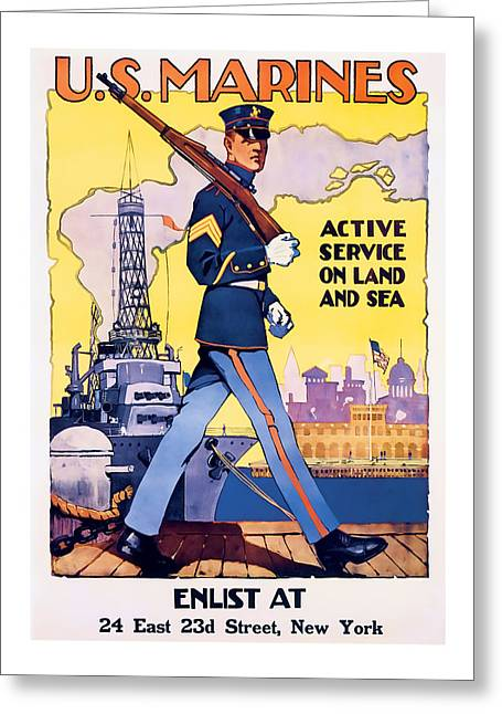 Patrotic Greeting Cards - American Marines  Vintage ww2 Art Greeting Card by Presented By American Classic Art