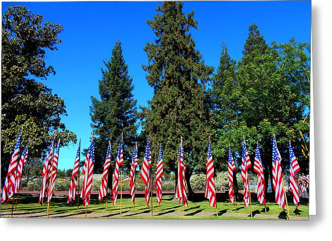 4th Glass Art Greeting Cards - American Memorial Greeting Card by Kathy Franklin