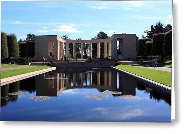 Fallen Soldiers Greeting Cards - American Memorial Normandy France Greeting Card by Aidan Moran