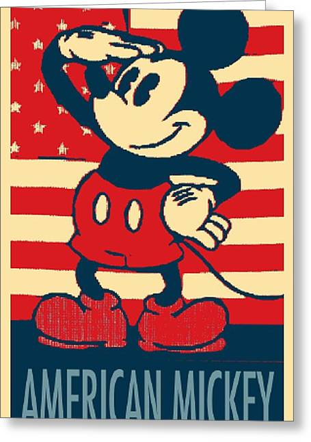 Shepard Fairey Greeting Cards - AMERICAN MICKEY in HOPE Greeting Card by Rob Hans