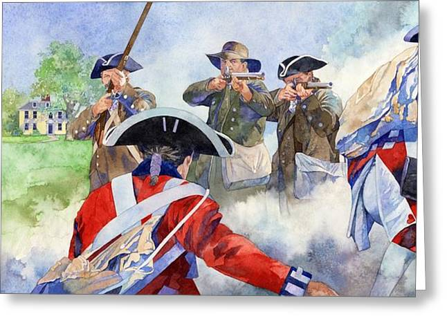 Self-government Greeting Cards - American Militiamen at Lexington Greeting Card by Matthew Frey