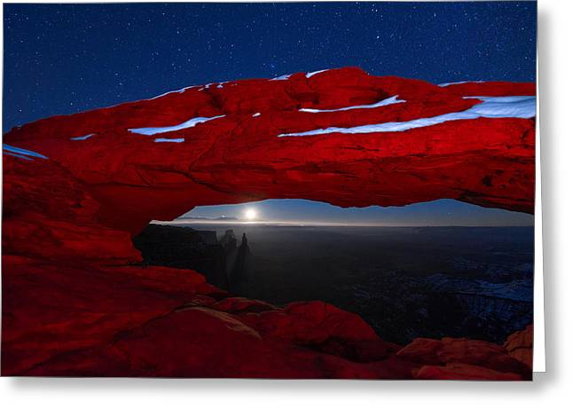 Moonrise Greeting Cards - American Moonrise Greeting Card by Dustin  LeFevre