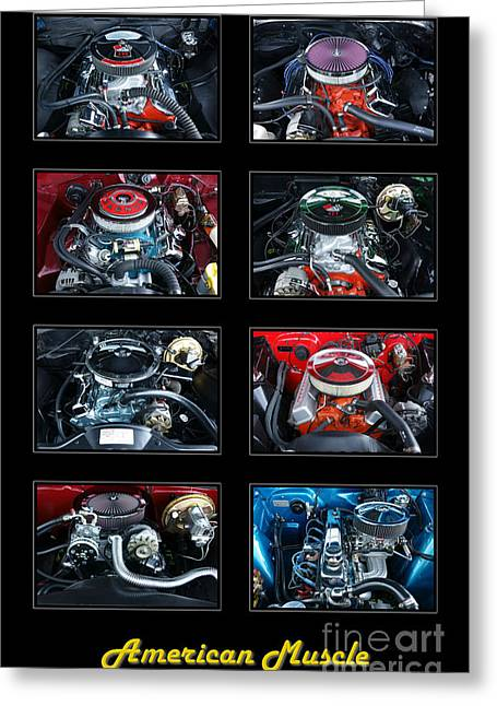 Composite Art Greeting Cards - American Muscle Greeting Card by Olivier Le Queinec