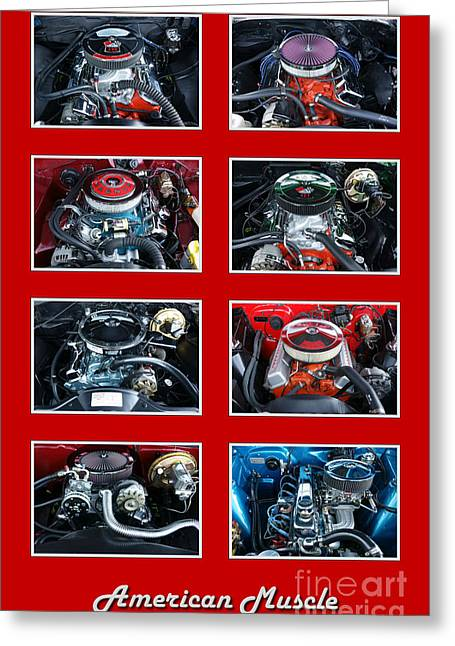 Selection Greeting Cards - American Muscle Red Poster Greeting Card by Olivier Le Queinec
