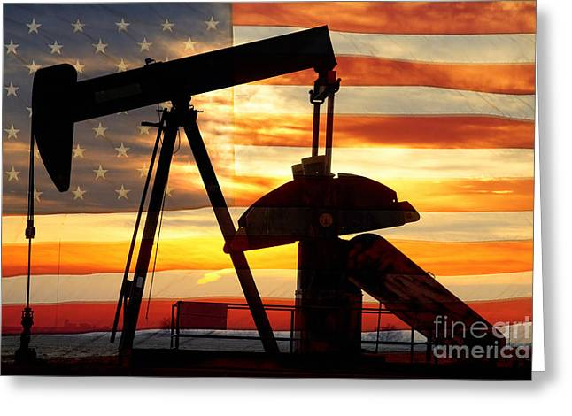 Flag Photographs Greeting Cards - American Oil  Greeting Card by James BO  Insogna