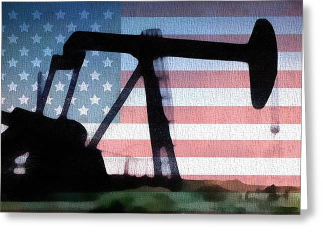 Oil Pumper Mixed Media Greeting Cards - American Oil Rig Greeting Card by Dan Sproul
