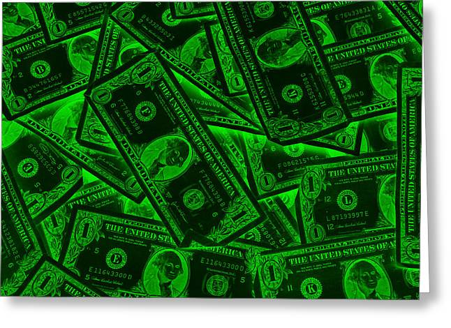 Greed Greeting Cards - American One Dollar Bills Pop Art Greeting Card by Keith Webber Jr