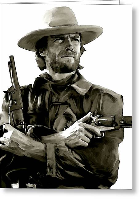 Phones Greeting Cards - American Outlaw  Clint Eastwood Greeting Card by Iconic Images Art Gallery David Pucciarelli