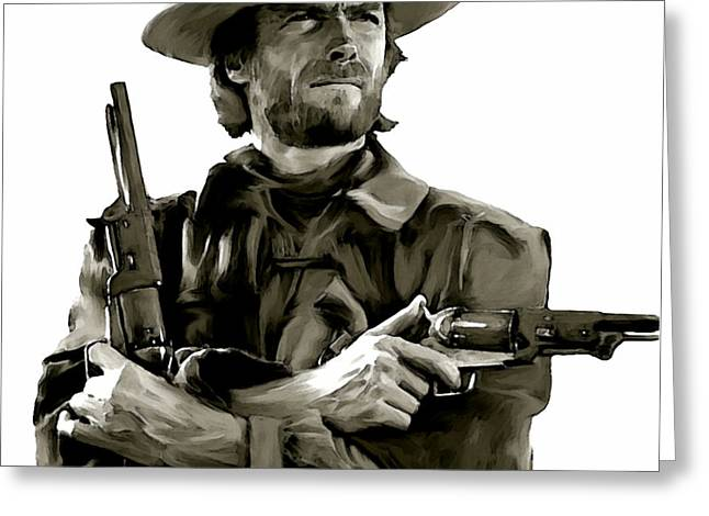 Los Angeles Drawings Greeting Cards - American Outlaw V Clint Eastwood Greeting Card by Iconic Images Art Gallery David Pucciarelli