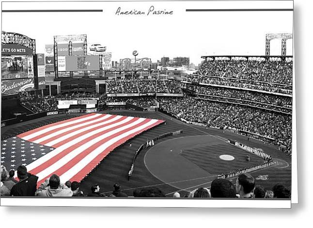New York Mets Stadium Greeting Cards - American Pastime Greeting Card by Ed Burczyk
