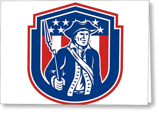American Patriot Holding Bayonet Rifle Shield Retro Greeting Card by Aloysius Patrimonio