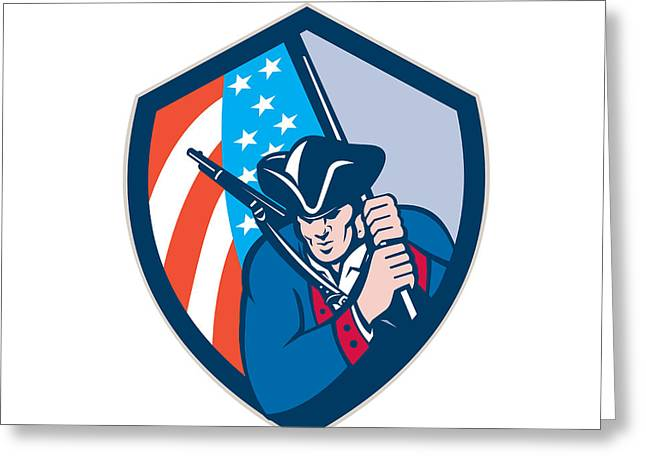 Brandishing Greeting Cards - American Patriot Holding Brandish Flag Shield Retro Greeting Card by Aloysius Patrimonio