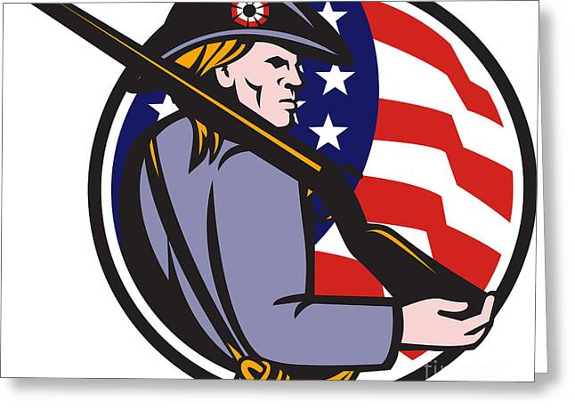 Minuteman Greeting Cards - American Patriot Minuteman With Rifle And Flag Greeting Card by Aloysius Patrimonio