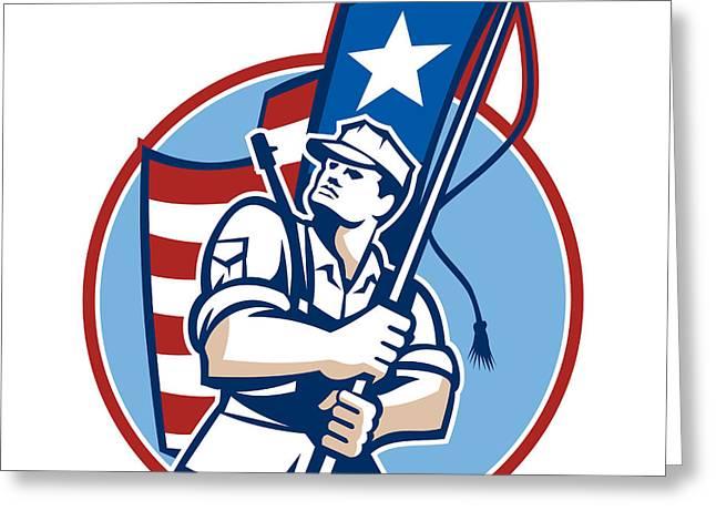 Serviceman Greeting Cards - American Patriot Serviceman Soldier Flag Retro Greeting Card by Aloysius Patrimonio