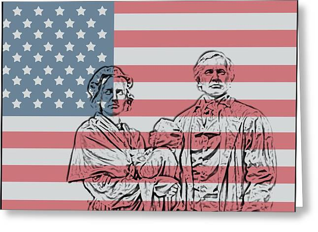4th Of July Mixed Media Greeting Cards - American Patriots Greeting Card by Dan Sproul