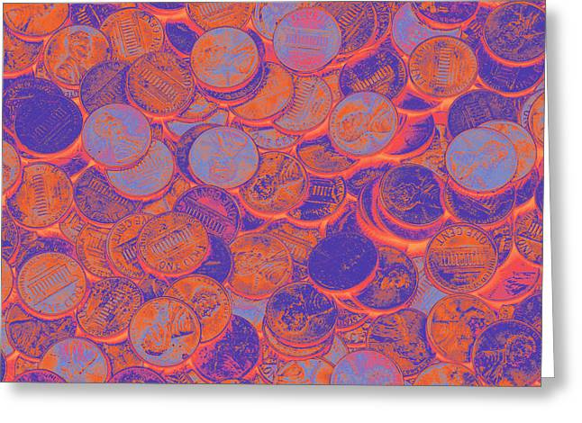 Coins Greeting Cards - American pennies Pop Art Greeting Card by Keith Webber Jr