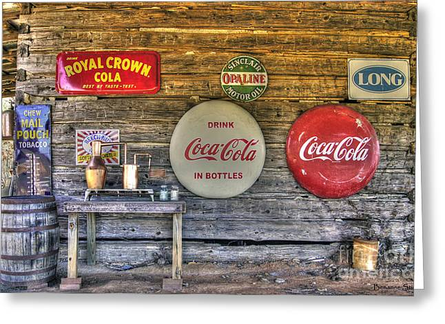 Vintage Coca Cola Sign Greeting Cards - American Pickers Paradise Greeting Card by Benanne Stiens