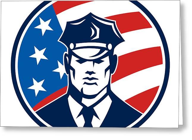 Police Officer Greeting Cards - American Policeman Security Guard Retro Greeting Card by Aloysius Patrimonio