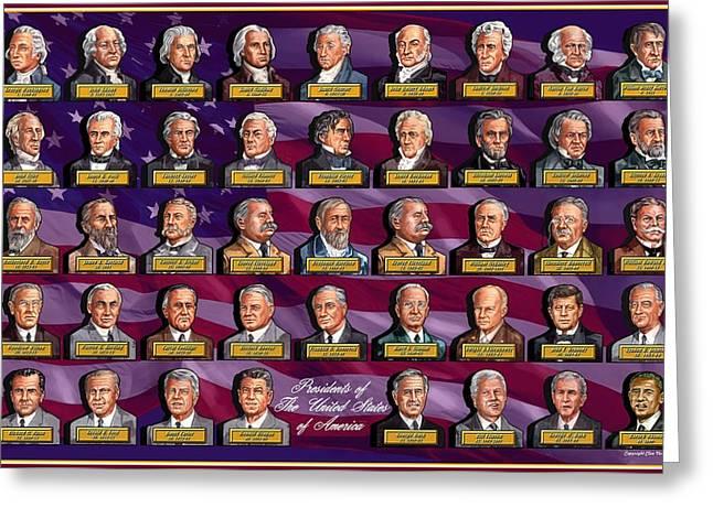 President Of America Mixed Media Greeting Cards - American Presidents Greeting Card by Clive Norton