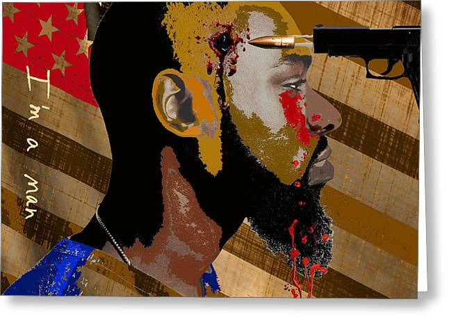 African American History Mixed Media Greeting Cards - American Prey Greeting Card by Delvon