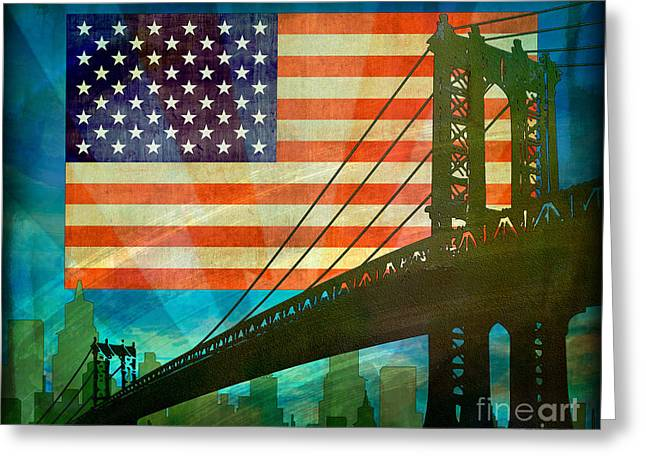 4th Of July Mixed Media Greeting Cards - American Pride Greeting Card by Bedros Awak