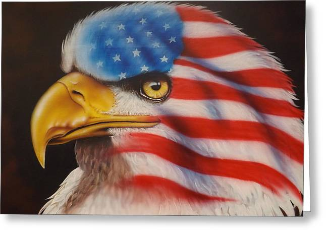 Veterans Memorial Paintings Greeting Cards - American Pride Greeting Card by Darren Robinson