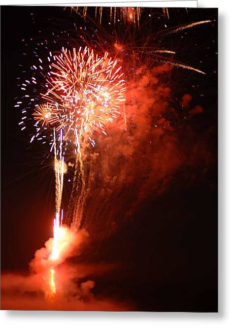Pyrotechnics Digital Art Greeting Cards - American Pride in Smoke and Colors Greeting Card by Optical Playground By MP Ray