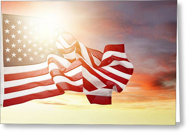 Clouds And Sun Greeting Cards - American pride Greeting Card by Les Cunliffe