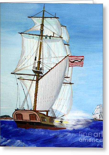 Bill Hubbard Greeting Cards - American Privateer Phoenix War of 1812 Greeting Card by Bill Hubbard