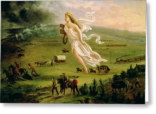 Westward Expansion Greeting Cards - American Progress, 1872 Oil On Canvas Greeting Card by John Gast