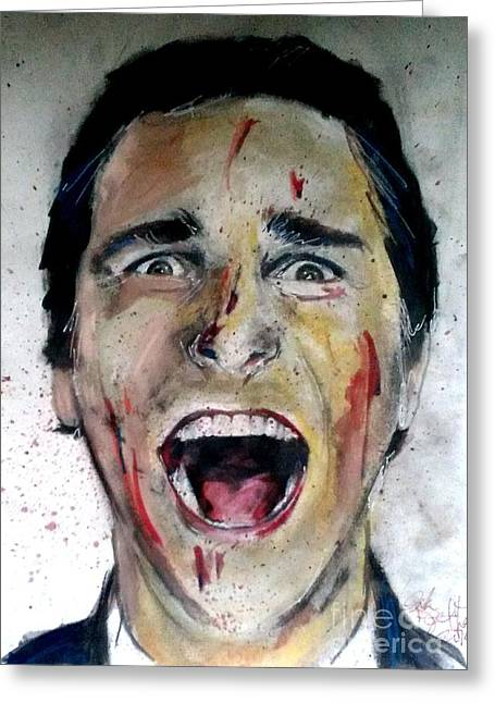 Bale Drawings Greeting Cards - American Psycho Greeting Card by Leah Katherine