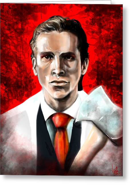 Christian Bale Greeting Cards - American Psycho Greeting Card by Vinny John Usuriello