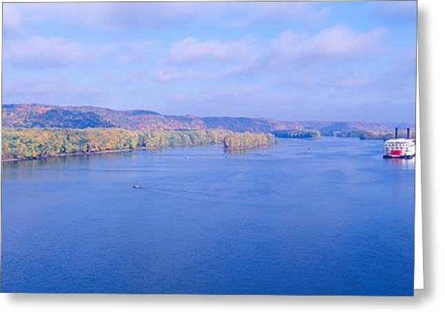 Mississippi River Scene Greeting Cards - American Queen Paddlewheel Ship Greeting Card by Panoramic Images