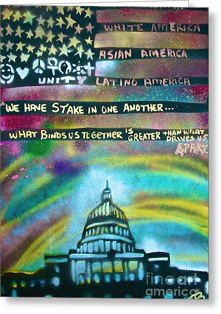Michelle Obama Paintings Greeting Cards - American Rainbow Greeting Card by Tony B Conscious
