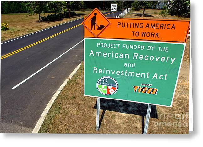 Roadway Greeting Cards - American Recovery and Reinvestment Act Road Sign Greeting Card by Olivier Le Queinec