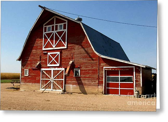 Planet Factory Greeting Cards - American Red Barn  Greeting Card by Lanjee Chee