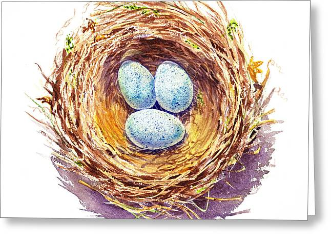 Nesting Greeting Cards - American Robin Nest Greeting Card by Irina Sztukowski