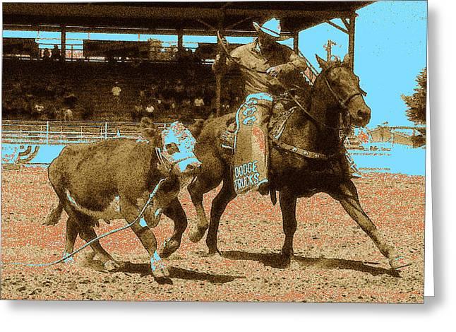 American Cowboy Gallery Greeting Cards - American Rodeo - Western Digital Art Greeting Card by Peter Fine Art Gallery  - Paintings Photos Digital Art