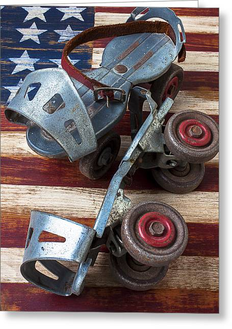 Old Skates Photographs Greeting Cards - American roller skates Greeting Card by Garry Gay